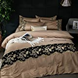 Bedding Collections European-style 60s satin cotton gold wire embroidery 1.8m quilt cover cotton american single double bed linen-C 220x240cm(87x94inch)