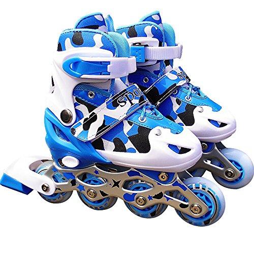 Sunkini Ice Skate mit Licht Kids Quad Skates Einstellbare Rollschuhe Jungen und Mädchen Rollers Wheeled ABEC-9 Lager Skating Schuhe Blau, Pink (Color : Blue, Größe : L)