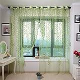 Hinmay – Schlichter Voilevorhang mit Weiden-Muster, als Dekoration von Schlafzimmer, Wohnzimmer und Arbeitszimmer Free Size grün