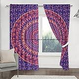 Cortina india bohemia hippie mandala para cocina, ventana, cortina y cenefa, tapiz de dormitorio, cortina india para balcón, decoración de habitación, juego bohemio hippie cortina panel (Multi)