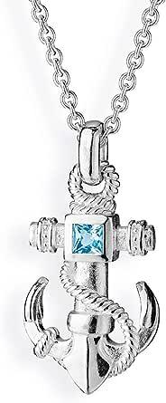 Drachenfels, elegante ciondolo unisex con ancora in vero argento | Collezione Heimathafen | Ciondolo marittimo a forma di ancora con tau per collana in argento Sterling 925