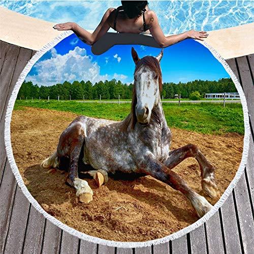 Simmia home antisabbia grande cotone rotondo microfibra, molto assorbente telo mare,asciugamano da spiaggia telo mare rotondo stampato microfibra a forma di cavallo in microfibra 150 * 150, 2