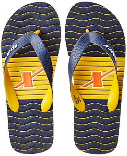 Sparx Men's Navy Blue and Yellow Flip Flops Thong Sandals - 7 UK/India (40.67 EU)(SF2060GNBYL)  available at amazon for Rs.271