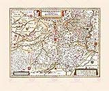 MAP ANTIQUE 1645 BLAEU PADERBORN EPISCOPACY LARGE REPLICA