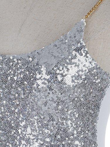 Anna-Kaci femmes Étincelle Brillance Glitter Mini paillettes métalliques chaîne d'effets du cou bateau sans manches Tank Top Spaghetti Silber