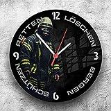 Roter Hahn 112 Hochwertige Feuerwehr Wanduhr Uhr Retten Löschen Bergen Schützen 112