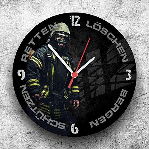 feuerwehr wanduhr Roter Hahn 112 Hochwertige Feuerwehr Wanduhr Uhr Retten Löschen Bergen Schützen 112