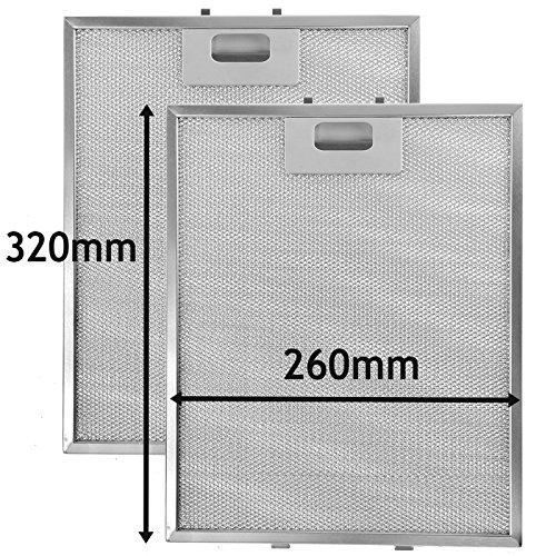 spares2go Metall Mesh Filter für Philips-Whirlpool Dunstabzugshaube/Abluftventilator Vent (2Stück Filter, silber, 320x 260mm) -