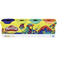 Play-Doh E4867ES0 4 Pack of Wild Non-Toxic Colors for Kids 2 Years and Up, 4-Ounce Cans, Bright, Dark Blue, Lime Green, Turquoise and Orange