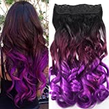 """Neverland 22"""" One Piece Clip in hair extensions Wavy Curly (Natural Black to Violet Purple)"""