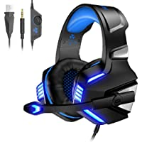 VersionTECH. Gaming headset for Xbox One PS4 PC,USB Headphones with Microphone,LED Light & Noise Cancelling & Surround bass Stereo compatible with 3DS Nintendo Switch Gamers Games accessories (Blue)