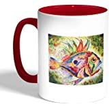 Decalac Printed Coffee Mug, Red Color, Colorful fish, Ceramic