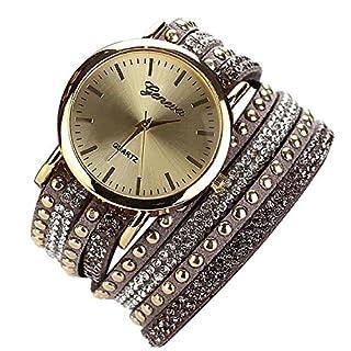 Minetom Damenmode Niet-Armband Kristall Runde Quarz Armbanduhr Wristwatch
