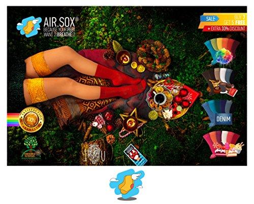 +NUEVO+ [7 + 5 GRATIS] Deluxe|BOX [Original AirSox®] Calcetines Hombre Mujer | 100% Algodon Orgánico [UNISEX|36 50] Negros+Blancos+TODOS COLORES [Business|Ciclismo|Deporte|Running] MADE IN EUROPE