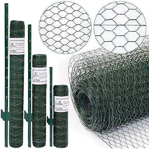 valla de Tela Metálica hexagonal + Postes | Rollo 25m | Altura tela metálica 0,75m | Malla 25x25mm | Incl 20 Postes altos 105cm | malla metálica con revestimiento de PVC verde para animales y plantas