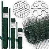 Rete per recinzioni a maglia Esagonale + Paletti | Rotolo di 10m | Altezza Rete 0,5m | Dimensione Maglia 13x13mm | Incl 8 Paletti alti 80cm | Rete metallica rivestita di plastica verde per animali e piante