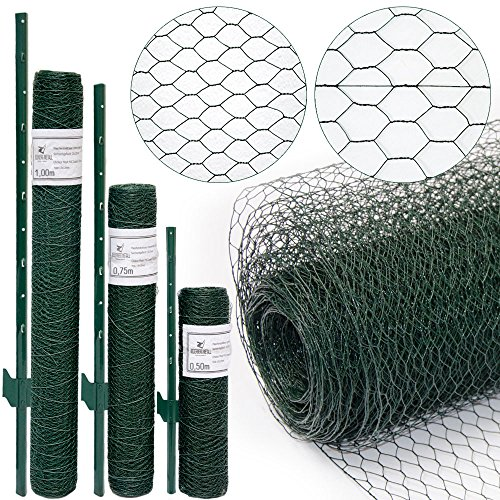 wire-netting-fence-metal-fence-posts-hexagonal-chicken-wire-height-075m-mesh-13x13mm-roll-10m-incl-8