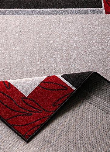 Hanse Home 101532 3-teilig Bettumrandung Teppich Lectus Bettläufer Bettbrücke, Polypropylen, beige rot, 70 x 140 x 0.8 cm