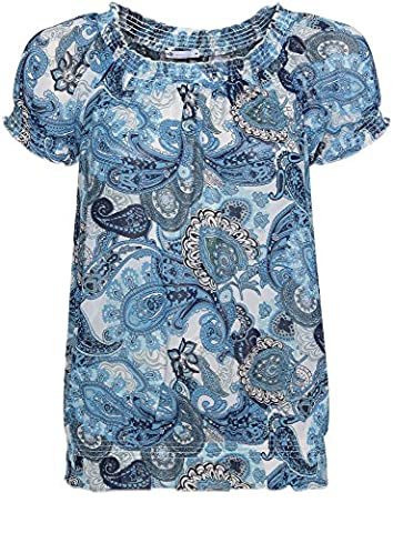 oodji Ultra Women's Printed Chiffon Blouse, Off-White, UK 14 / EU 44 / XL