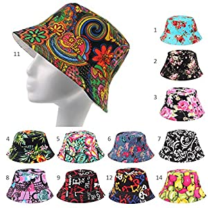 daed63ae10e Fashionable Unisex Satin Lined Printed Pattern Cotton Bucket Hat