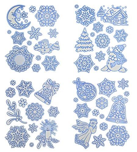 * 52 weihnachtliche, winterliche Fensterbilder Weihnachtsdeko Fensterdekoration wiederverwendbar!! - Blau Flocke Glocke