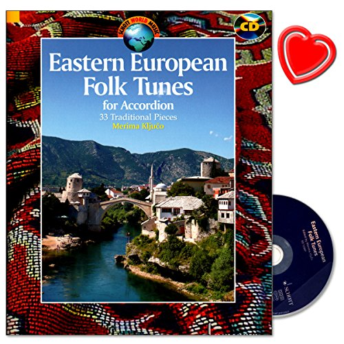 Eastern European Folk Tunes - traditionelle Tänze und Melodien aus Ungarn, Rumänien, Bosnien und Herzegowina, Mazedonien, Albanien, Serbien - Akkordeon Noten mit CD und bunter herzförmiger Notenklammer