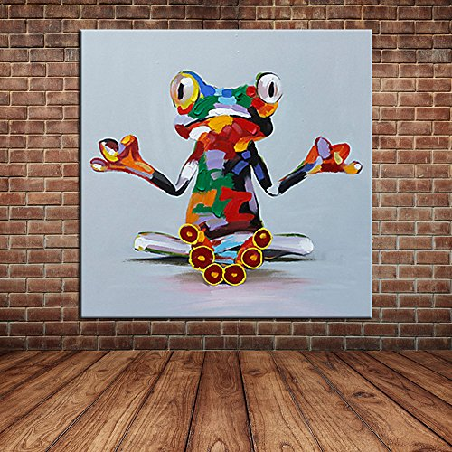 iplst-cartoon-animal-mano-moderna-pittura-con-la-pittura-divertente-emoji-ad-olio-su-tela-di-camera-