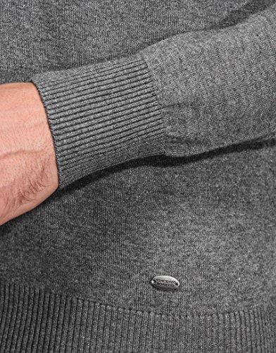 Vincenzo Boretti Herren-Pullover V-Ausschnitt slim-fit tailliert Strick-Pullover V-Neck einfarbig Baumwolle-Mix edel elegant leicht Fein-Strick für Business oder Casual Dunkelgrau