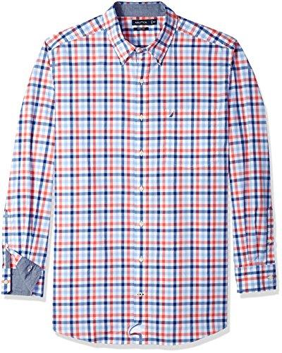 Nautica Men's Big Classic Fit Stretch Plaid Long Sleeve Button Down Shirt, Dreamy Coral, 3XLT Tall (Classic Shirt Plaid Fit)