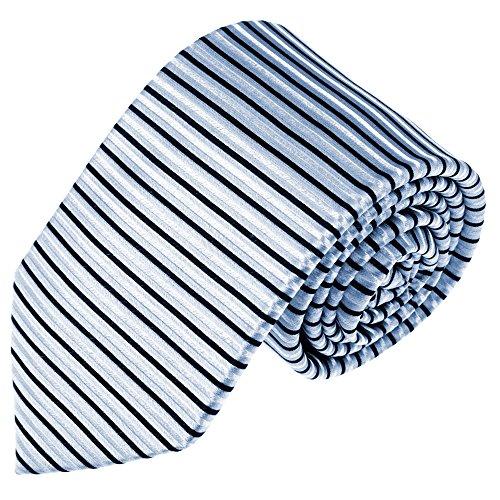 Preisvergleich Produktbild LORENZO CANA Designer Krawatte 100% Seide Markenkrawatte Streifen quer gestreift Silber Blau Schwarz Business 84578
