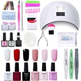 Elite99 Smalto Semipermanente per unghie Kit di Partenza in 6 coloris Gel 24 W LED Lampada UV Nail Dryer Soak Off Topcoat Bas