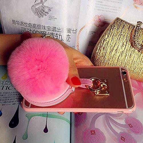 Coque iPhone 6 Plus/6s Plus , iNenk® TPU souple Transparent luxe affaire téléphone Shell protecteur miroir lapin fourrure Ball couverture Mode créatif pour femmes-violet Rose