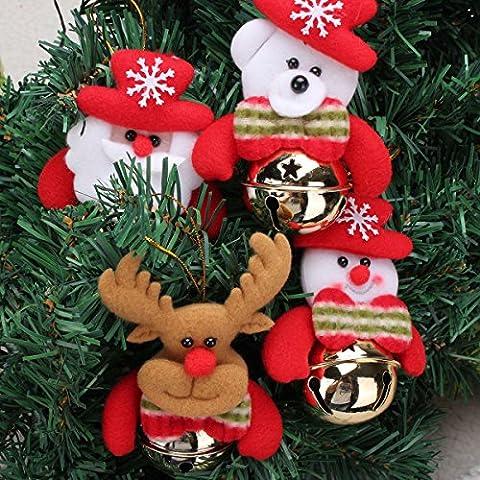 Paleo Navidad de santa claus alces muñeco de nieve que cuelgan el ornamento con el árbol de navidad campana decoración