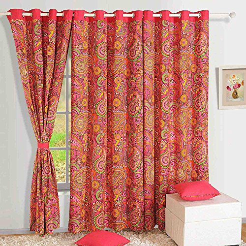 Orange and Red Damask Print Cotton Door Curtains-54 x 84 Inch For ...