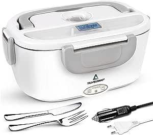 TRAVELISIMO Lunch Box Chauffante Électrique 2 en 1 pour Voiture/Camion et Bureau 220V & 12V 40W, Gamelle Chauffante Acier Inoxydable 1.5L, Boîte Repas avec Fourchette et Couteau et 2 Compartiments