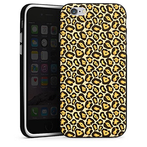 Apple iPhone X Silikon Hülle Case Schutzhülle Dschungel Animal Print Muster Braun Silikon Case schwarz / weiß