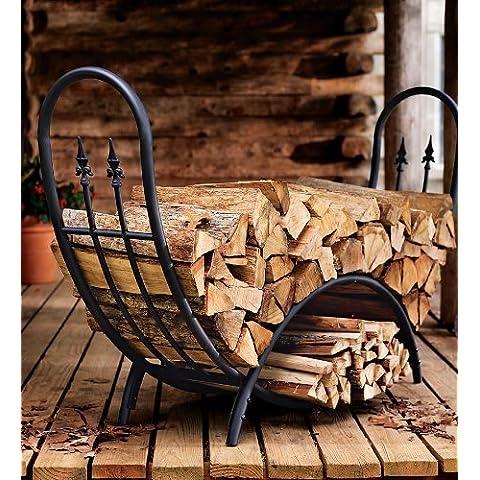 Plow & Hearth curvada de madera (rack con Finials–Tubular de acero recubierto y hierro forjado con acabado negro–Hardware de acero inoxidable–180.34cm L x 45.08cm W x 106,68cm