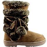 Holly Damen Schuhe Pom Pom Fell Schnee Regen Stiefel Winter Pelzstiefel, Braun, 37 EU