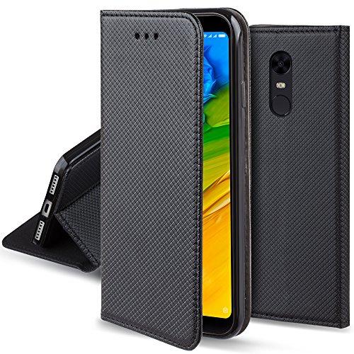 Moozy Funda para Xiaomi Redmi 5 Plus, Negra - Flip Cover Smart Magnética con Stand Plegable y Soporte de Silicona
