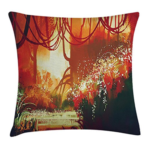 Fantasy Throw Pillow Cushion Cover, Woman with Umbrella in Rain Old Town Ruins Apocalypse Superhero Action Desgin, Decorative Square Accent Pillow Case, 18 X 18 Inches, Army Green Beige -