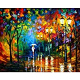 Van Eyck Withe Dress Girl Walking at the Rainy Night Colorful Palette Knife Oil Painting of Tree Wall Canvas linen Art Prints Pictures Wall Art for Bedroom Living Room HD-151