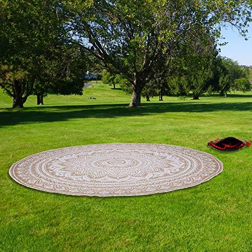 RAJRANG BRINGING RAJASTHAN TO YOU Kleine runde Tapisserie - Chakra Mandala Roundie Boho Chic Strandüberwürfe für Picknick und Camping - Weiß und Gold - 122 cm