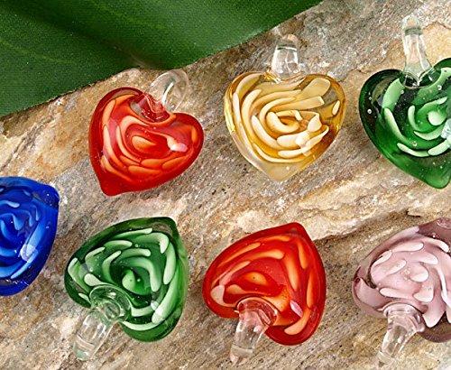 Preisvergleich Produktbild Ecloud Shop® 10X Anhänger Kettenanhänger aus Glas Murano Herz 18mm CHARMS