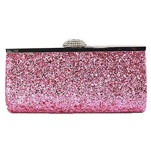 YYW Sparkly Clutch Bag, Poschette giorno donna Pink