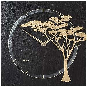 **vAERST-horloge murale à quartz en ardoise naturelle satiné-motif arbre-argent