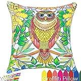 vos Impressions Simpson DIY Décoration Taie d'oreiller de coloriage, 45,7cm carré avec un ensemble de 12stylos Doodle Couleur, Creative Cadeau pour enfants, Cat Owl, 18x18''...