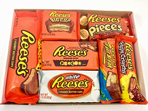 Reeses Geschenkkorb aus USA   Peanut Butter und Schokolade   Auswahl beinhaltet Peanut Butter Cups, Pieces, Nut Bars, Miniatures   9 Produkte in einem kleinen retro Süßigkeitenkorb