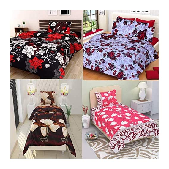 Arsh Fabs Furnishing Home Combo Glace Cotton Queen Size Single Bedsheets(Size 60x90inch), Combo Set of 4 Bedsheet and 4 Pillow Covers