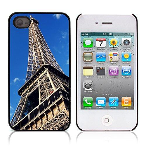 Graphic4You Paris At Night Skyline View Postkarte Ansichtskarte Design Harte Hülle Case Tasche Schutzhülle für Apple iPhone 4 und 4S Design #1