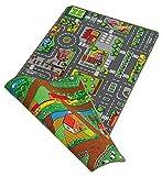 Paradiso Toys NV A1303903 Duoplay - Alfombra con circuito de ciudad y campo (reversible, 80 x 120 cm)